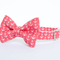 Bow Tie Dog Collar - Watermelon Red Anchors Aweigh