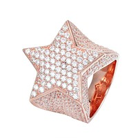 Custom Silver Men's Star Ring 14k Rose Gold Finish