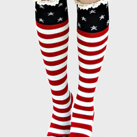 American Flag Lace Trim Knee High Boot Socks