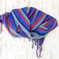 Handwoven Multicolored Scarf, Blue,Red,Mint Striped Scarves, Natural,Organic Scarf, Fashion accessories, Women,Men Gifts