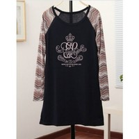 Crown Pattern Long-Sleeved Leisure T-shirt Top@XYZ9774