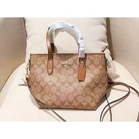 Coach fashion casual lady printed shoulder bag shopping bag