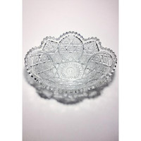 Serving Bowl, American Brilliant Cut, Large Crystal Glass Bowl, Antique Serving Bowl, Party Display