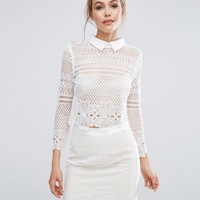 Dark Pink Lace Cropped Blouse Co-Ord at asos.com