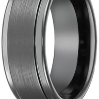 Men's Grey Brushed Tungsten Carbide Wedding Band