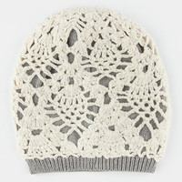 Lurex Overlay Beanie Ivory One Size For Women 26393716001