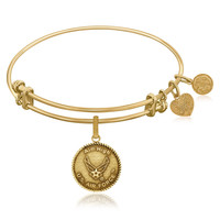Expandable Bangle in Yellow Tone Brass with U.S. Air Force Aim High Symbol