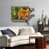 The tiger extra-large 3 d effect The sitting room background decoration Removable wall stickers SM6