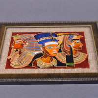 Handmade stained glass picture in frame for room decor Egyptian Pharaohs