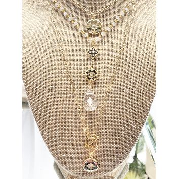 Crystal Star Pendant Gold Necklace
