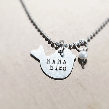 SaLe Mama Bird Necklace with FREE pearls or  birthstone  add on option
