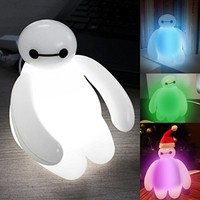 5SLED® Big Hero 6 Baymax Vinyl Action Figure Cartoon Kids Color Changing Night light LED lamp for Childern Baby Bedroom USB Rechargeable