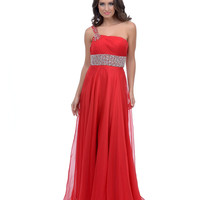2014 Prom Dresses - Red Chiffon One Shoulder Back Cut Out Long Dress