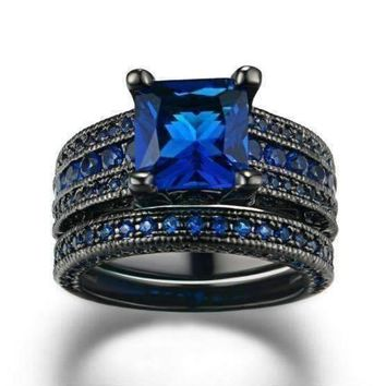 18K Black Gold Plated Moonlight Serenade Blue CZ and Black Gold Solitaire Engagement Ring Set For Woman