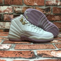 Air Jordan 12 Retro XII (Light Bone/Gold/Plum)Basketball Sneaker