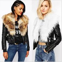 Plus 3XL Lady jacket PU leather faux fur collar women coat high quality