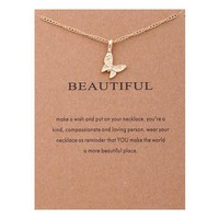 Tiny Butterfly Card Alloy Clavicle Pendant Necklace   171212