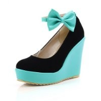 WeiPoot Womens Closed Round Toe High Heel Platform Wedges PU Frosted Solid Pumps with Bowknot