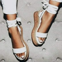Women Summer White Wedge Espadrilles Sandals Open Toe Gladiator