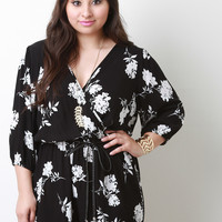 Three Quarter Bell Sleeve Surplice Floral Romper