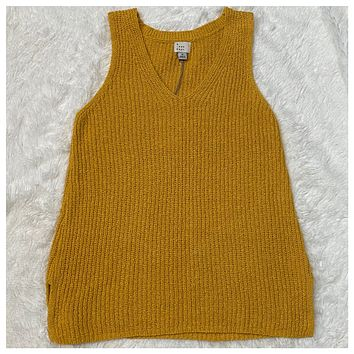EXTRA SPECIAL! Cozy Cute V Neck Sleeveless Sweater Top-Mustard