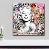 Wxkoil Wall Art Pictures For Living Room Home Decor Abstract Graffiti Art Marilyn Monroe Canvas Oil Painting Printed  Unframed