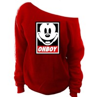 Mickey Mouse Ohboy Off-Shoulder Wide Neck Slouchy Sweatshirt