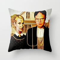 Dwight Schrute & Angela Martin (The Office: American Gothic) Throw Pillow by Silvio Ledbetter