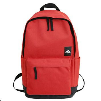ADIDAS tide brand men and women models simple solid color sports and leisure travel backpack red