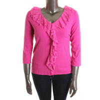 Cable & Gauge Womens Ruffled Knit Pullover Sweater