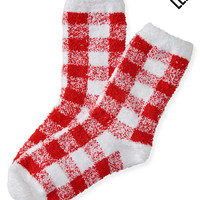 LLD Fuzzy Buffalo Check Crew Socks