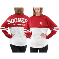 Oklahoma Sooners Women's Varsity Sweeper Long Sleeve Jersey Top – Crimson