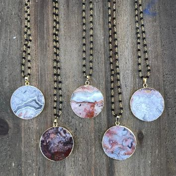 Round Agate Slice Necklace #I1206