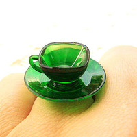 Kawaii Cute Japanese Ring Clear Green Teacup by SouZouCreations