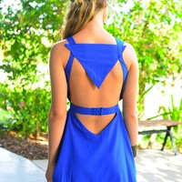 Blue Sleeveless Mini Dress with Cutout Front & Back Detail