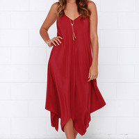 Made it to Moscow Wine Red Midi Dress
