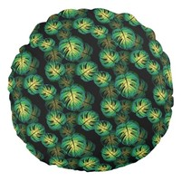 Monstera Leaves Round Pillow