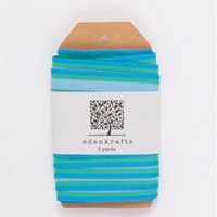 Turquoise, baby blue and green striped grosgrain ribbon, 7/8 inches wide, 5 yards - DIY, party, gift wrapping, scrapbooking, craft projects