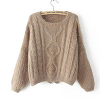 Brown Knitted Pullover Sweater