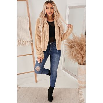 Ode To Cozy Fuzzy Hooded Jacket (Sand)