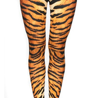 BadAssLeggings Women's Tiger Fur Medium Yellow