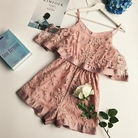 New Summer Women Fashion Beach Lace Organza Playsuits Female Casual Wide Pants Short Sleeves Jumpsuits Rompers Loose Bodysuits