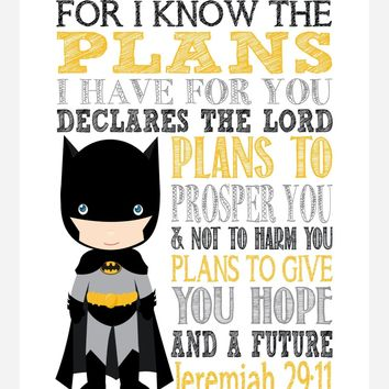 Batman Superhero Christian Nursery Decor Art Print - For I Know The Plans I Have For You - Jeremiah 29:11