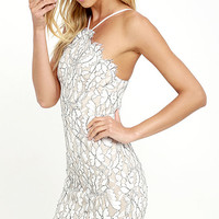 Delicate Darling Beige and Ivory Lace Bodycon Dress