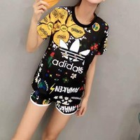 Adidas Women Casual Multicolor Sunflower Letter Pattern Print Short Sleeve Shorts Set Two-Piece Sportswear