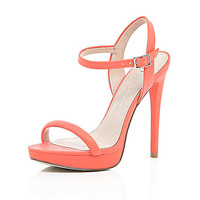 River Island Womens Orange snake print barely there sandals