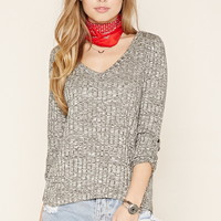 Marled Ribbed Knit Top   Forever 21 - 2000198868