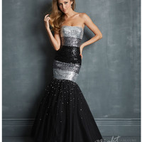 (PRE-ORDER) Night Moves by Allure 2014 Prom Dresses - Black & Silver Sequin Tulle Mermaid Prom Dress