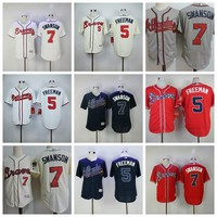 2017 Swanson Atlanta Braves Baseball Jerseys Flexbase 5 Freddie Freeman Jersey 7 Dansby Swanson Shirt Mens Cool Base Jersey Stitched