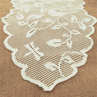 Birds in Tree Branch Lace Table Runner, Ivory, 13-inch, 8-feet